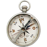 Rare 1910s Swiss Aluminum Compass / Muller & Vaucher (M & V) Pocket Compass