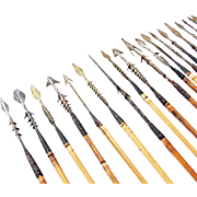 Lot of 20 Ancient African Tribal Arrows Bamboo Iron Copper Bronze Spikes