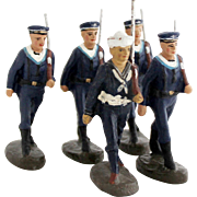 Vintage 1930s Navy Marine Sailor Soldier Cadet Collection 5 x German Elastolin Toy Soldiers
