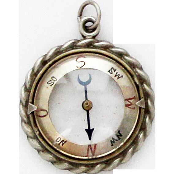 1920s Vintage Transparent Compass Fob German Pendant Charm SOLD