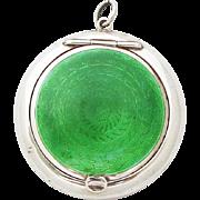 1920s Vintage British Sterling Silver Green Guiloche Enamel Pendant Powder Compact Pill Box Medaillon