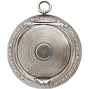 Vintage French Silver Powder Compact Pendant / 1930s Pill Box Medaillon Locket