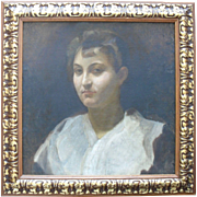 French School  Portrait c 1870 Oil Painting