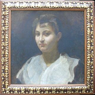 French School  Portrait c 1870 Oil Painting