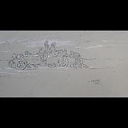 Andre ABBAL (1876-1953) Rare Veteran Car Sketch dated 1903  Drawing Legion d'Honneur.