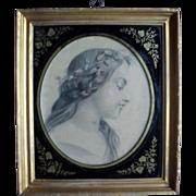 """Villelia"" French School 19th Century. Drawing"
