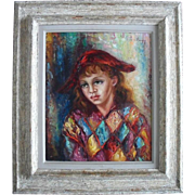 "Anna de BANGUY ""Harlequin"" French School c1953 Oil Painting"