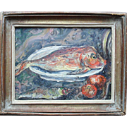 "MOTIA MORHANGE (c.1880-1960) ""Gurnard"" French Israeli Impressionist Still Life Oil Painting"