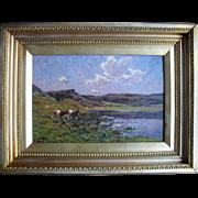 Clovis Frédérick TERRAIRE (1858 - 1931) Oil Painting, Cattle in a Landscape.