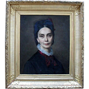 R.G. 1875 Portrait French School Oil Painting