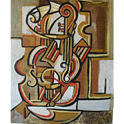 Modern French Abstract, follower of Picasso. Monogram JNB 92.Oil Painting