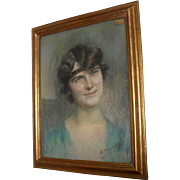 Madeleine Neuville 1920 French Art Deco portrait of a Flapper Girl  Pastel.