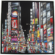 Céline LUST (b1978) New York Large Oil Painting