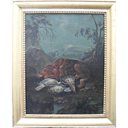 Follower of  Jean-Baptiste Oudry  18th Century Landscape. Spaniel with Woodcock.