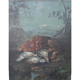Follower of Jean-Baptiste Oudry 18th Century Landscape. Spaniel with Woodcock. Oil Painting.