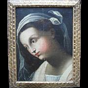 Early Italian school circa 1650. Baroque Madonna Oil Painting