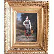 Th. LEPAGE c1870 French School The Milkmaid Oil Painting
