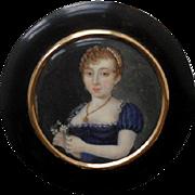 19th Century Portrait Miniature inset into a Horn Box.