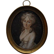 French School Portrait Miniature Signed c1740