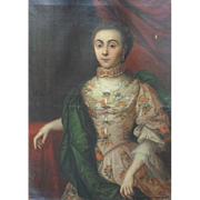 French School c1745 Restoration Project Oil Painting