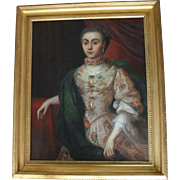 French School c1745 Pre-Revolutionary Aristocrat. Large Oil Painting.