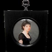Exquisite French School Portrait Miniature Melanie Ferrand c1807