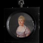French School Portrait Miniature Mme. Ferrand 1807.