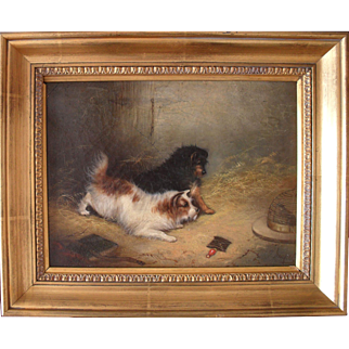 George Armfield (1808-1893) Inquisitive Terriers. English School Oil Painting
