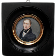 French School Portrait Miniature c1820