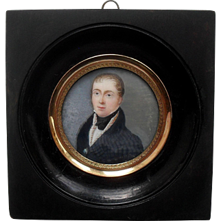 French School Portrait Miniature c1820