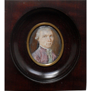 Modest School Portrait Miniature c1770.