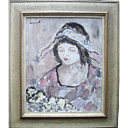 French Post-Impressionist Portrait c1960 Oil Painting