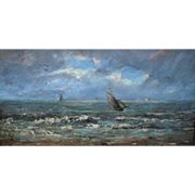E.C. 1875 Ostende Belgian School Seascape Oil Painting