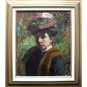 Dazzling 19th-century French Impressionist Period Portrait. Oil Painting.