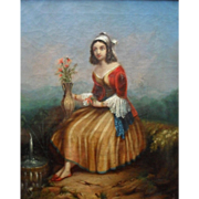 Rare American Artist  W L Groustine Pinxt  1847 N.Y.C.   Grecian Flower Girl Oil Painting.