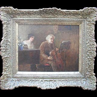George Edmund BUTLER (1872-1936) The Cellist Recital Oil Painting c1895 Of New Zealand Interest