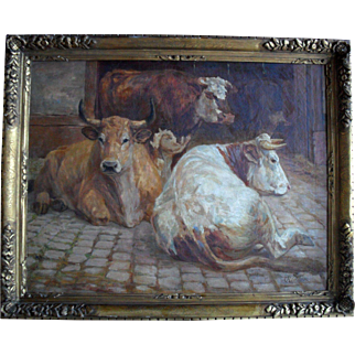 Follower of Rosa Bonheur. C Richard c1880. French School, Large Oil Painting