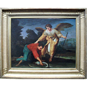 Italian Bolognese School c1750  Tobias and The Angel Oil Painting.