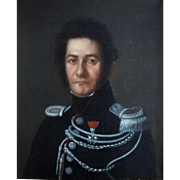 French Napoleonic Cavalry Officer c1815 Oil Painting