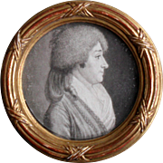 French School Plumbago Portrait Miniature c1780