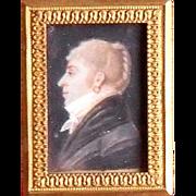 French School Portrait Miniature c1780 Gentleman in Profile