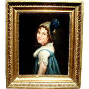 French School c1840 Portrait of a Woman in a Plumed Hat.