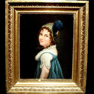 French School c1840 Portrait of a Woman in a Plumed Hat.