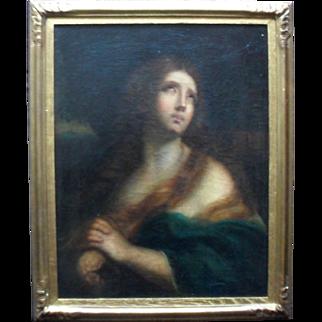 Italian School Penitent Magdelane c1700 Oil Painting