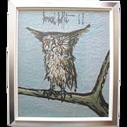 Bernard Buffet La Chouette, The Owl,  1969 Wool Tapestry