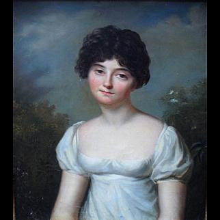 French School 1805 Napoleonic Empire Portrait.Oil Painting