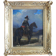 French School Early 19th Century Napoleonic Dispatch Rider at a  Milepost Oil Painting
