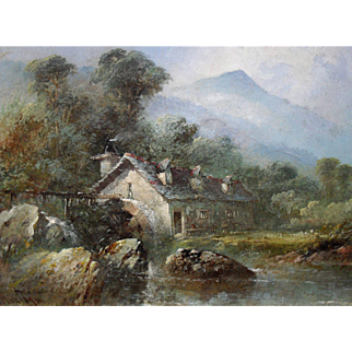 Clifford MONTAGUE (act.1845-1901) Watermill in North Wales. Oil Painting