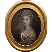 18th Century Portrait Miniature Oil on Copper