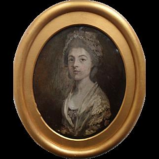 18th Century Portrait Miniature Oil on Copper